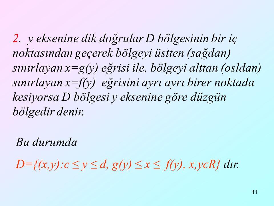 D={(x,y):c ≤ y ≤ d, g(y) ≤ x ≤ f(y), x,yєR} dır.