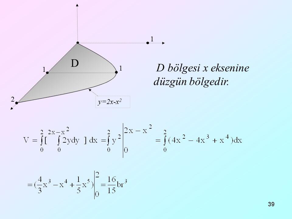D bölgesi x eksenine düzgün bölgedir.