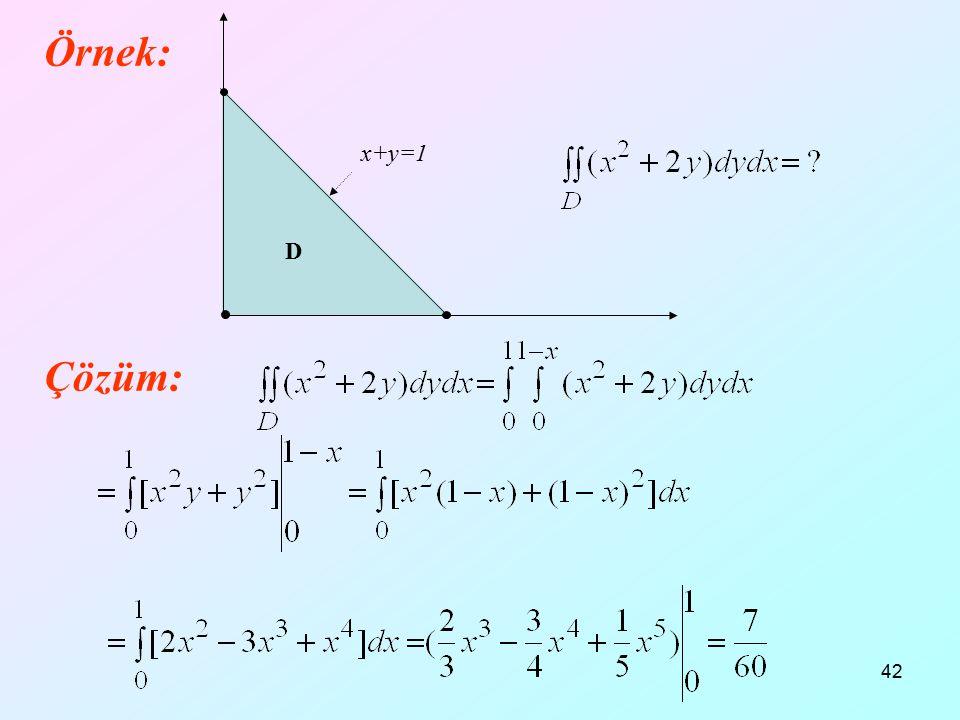 12.04.2017 x+y=1 D Örnek: Çözüm:
