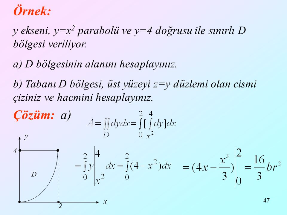 Örnek: 12.04.2017. y ekseni, y=x2 parabolü ve y=4 doğrusu ile sınırlı D bölgesi veriliyor. a) D bölgesinin alanını hesaplayınız.