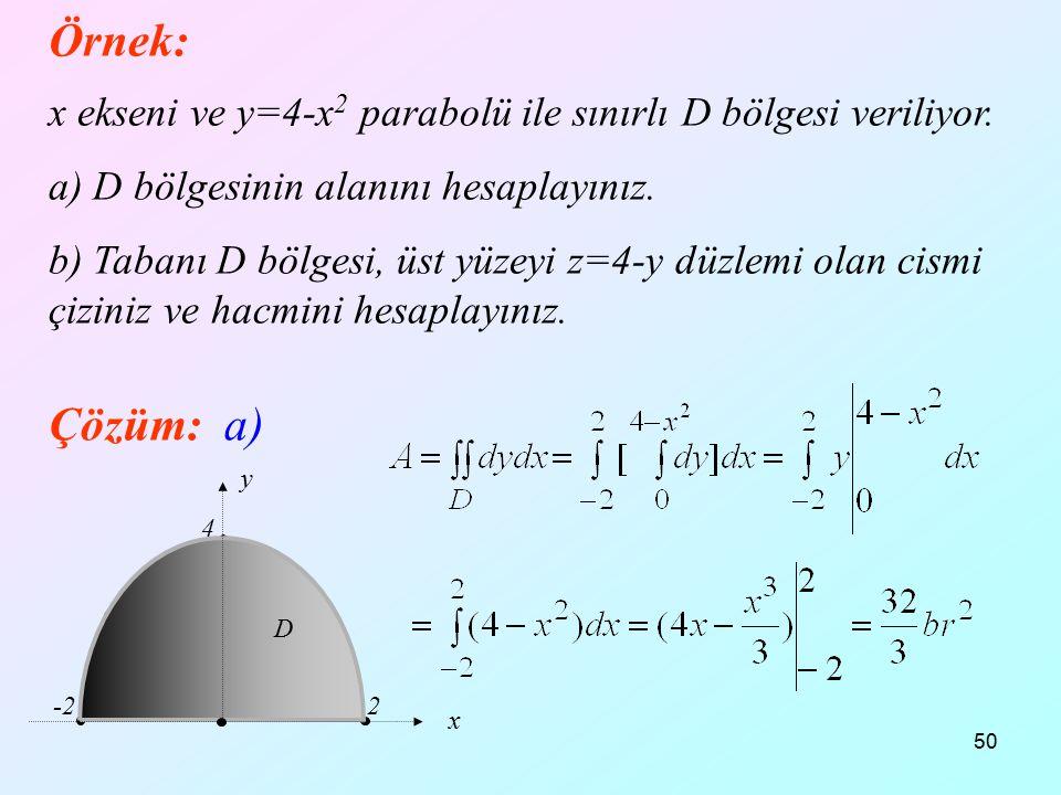 Örnek: 12.04.2017. x ekseni ve y=4-x2 parabolü ile sınırlı D bölgesi veriliyor. a) D bölgesinin alanını hesaplayınız.