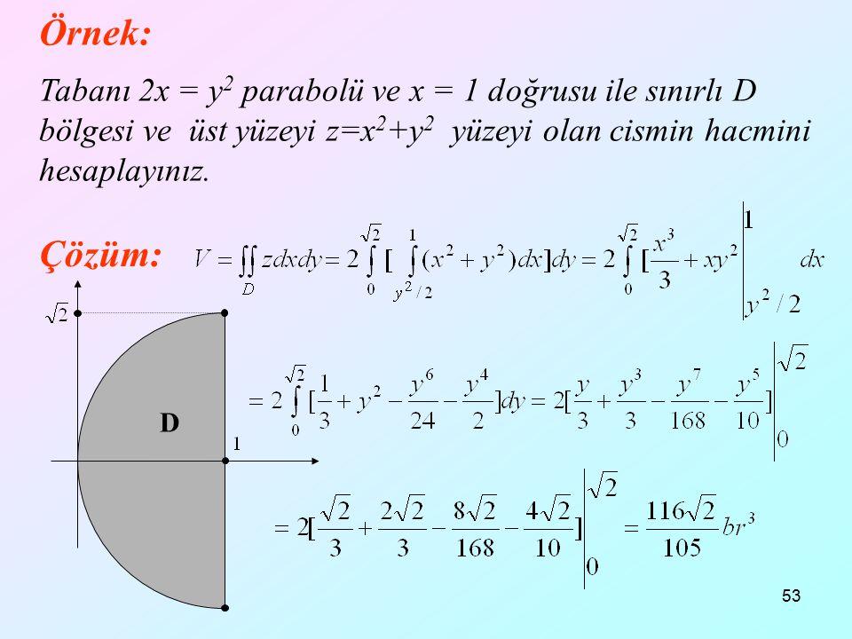Örnek: 12.04.2017. Tabanı 2x = y2 parabolü ve x = 1 doğrusu ile sınırlı D bölgesi ve üst yüzeyi z=x2+y2 yüzeyi olan cismin hacmini hesaplayınız.