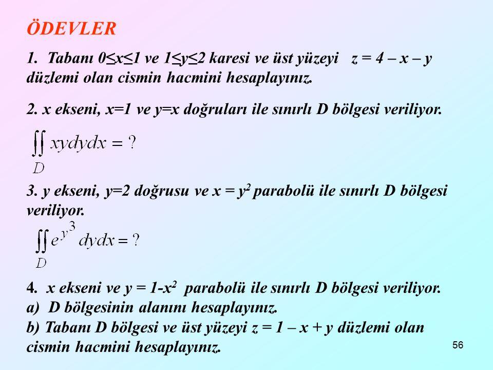 12.04.2017 ÖDEVLER. 1. Tabanı 0≤x≤1 ve 1≤y≤2 karesi ve üst yüzeyi z = 4 – x – y düzlemi olan cismin hacmini hesaplayınız.