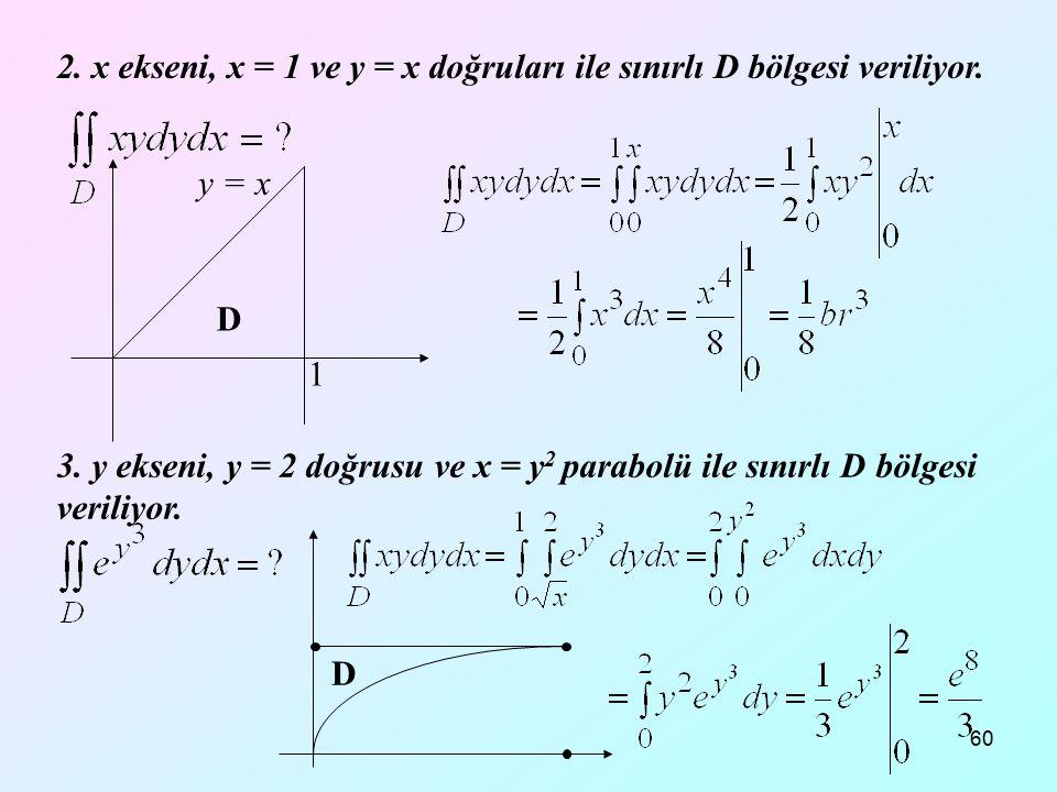 2. x ekseni, x = 1 ve y = x doğruları ile sınırlı D bölgesi veriliyor.