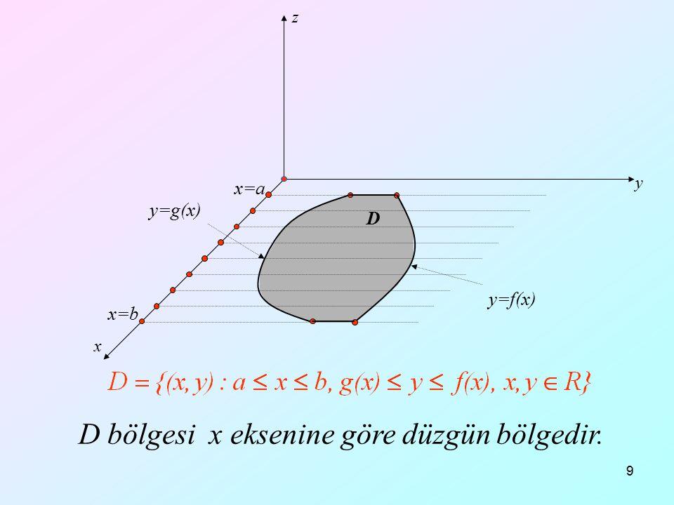 D bölgesi x eksenine göre düzgün bölgedir.