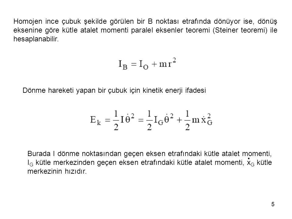 Homojen ince çubuk şekilde görülen bir B noktası etrafında dönüyor ise, dönüş eksenine göre kütle atalet momenti paralel eksenler teoremi (Steiner teoremi) ile hesaplanabilir.