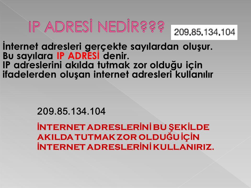 IP ADRESİ NEDİR İnternet adresleri gerçekte sayılardan oluşur.