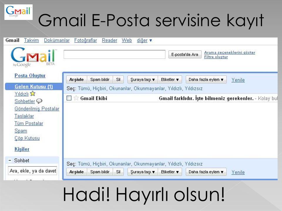Gmail E-Posta servisine kayıt