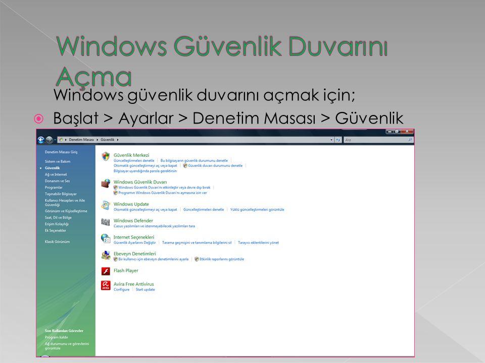 Windows Güvenlik Duvarını Açma