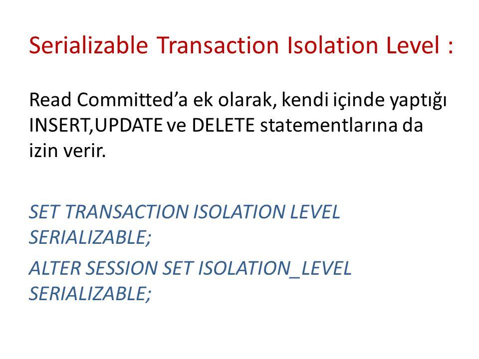 Serializable Transaction Isolation Level :