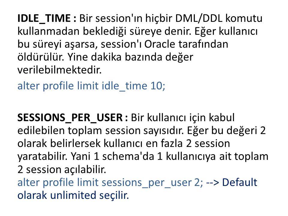 IDLE_TIME : Bir session ın hiçbir DML/DDL komutu kullanmadan beklediği süreye denir.
