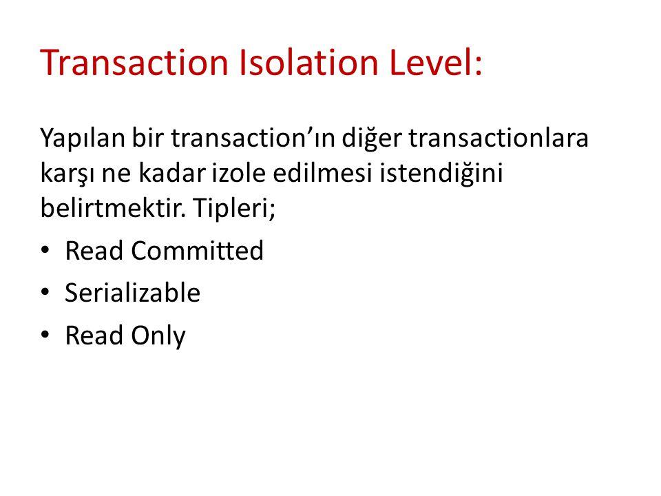 Transaction Isolation Level: