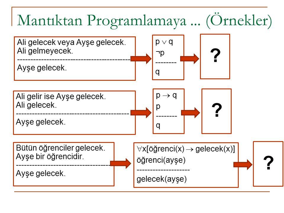 Mantıktan Programlamaya ... (Örnekler)