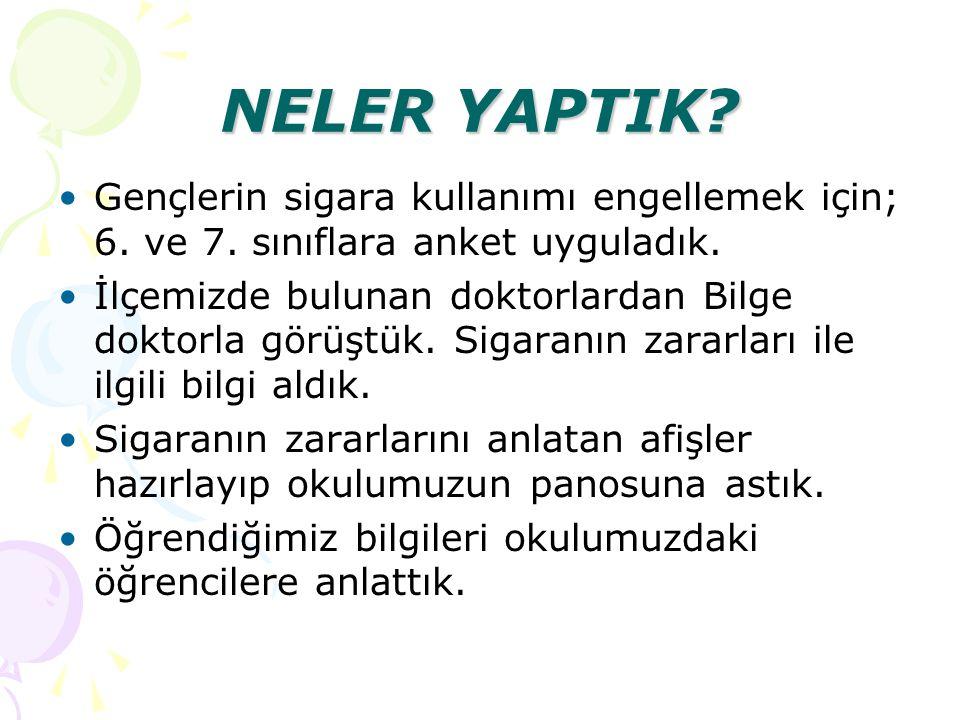 NELER YAPTIK Gençlerin sigara kullanımı engellemek için; 6. ve 7. sınıflara anket uyguladık.