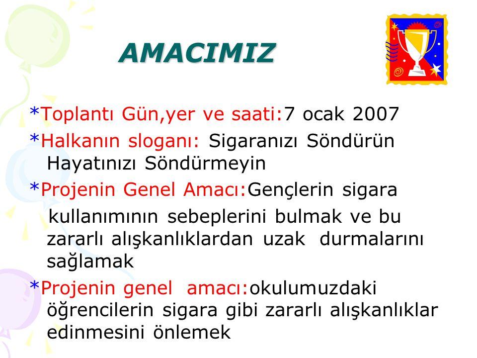 AMACIMIZ *Toplantı Gün,yer ve saati:7 ocak 2007
