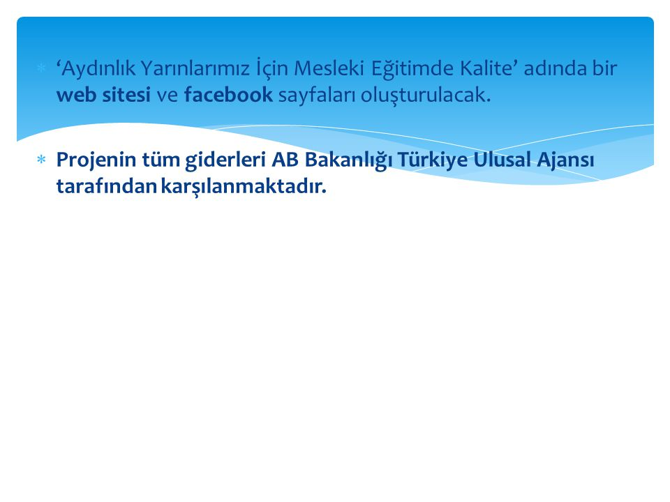'Aydınlık Yarınlarımız İçin Mesleki Eğitimde Kalite' adında bir web sitesi ve facebook sayfaları oluşturulacak.