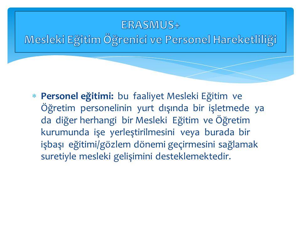 ERASMUS+ Mesleki Eğitim Öğrenici ve Personel Hareketliliği