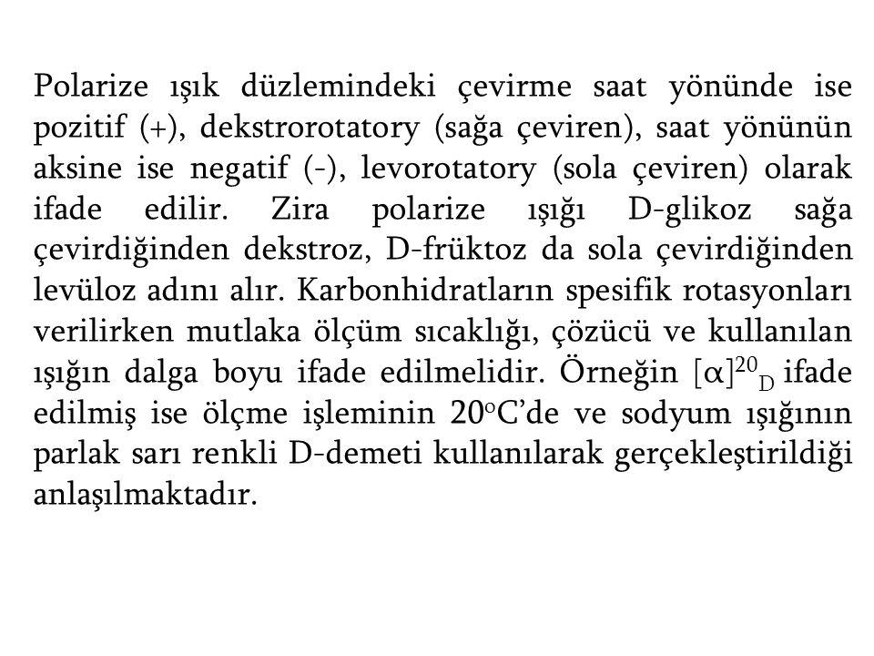 Polarize ışık düzlemindeki çevirme saat yönünde ise pozitif (+), dekstrorotatory (sağa çeviren), saat yönünün aksine ise negatif (-), levorotatory (sola çeviren) olarak ifade edilir.