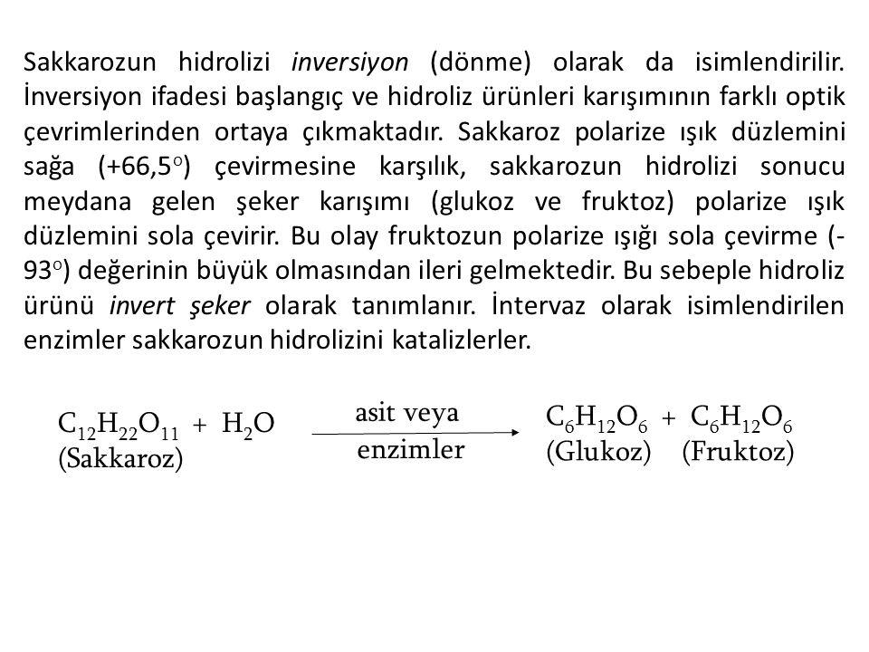 Sakkarozun hidrolizi inversiyon (dönme) olarak da isimlendirilir