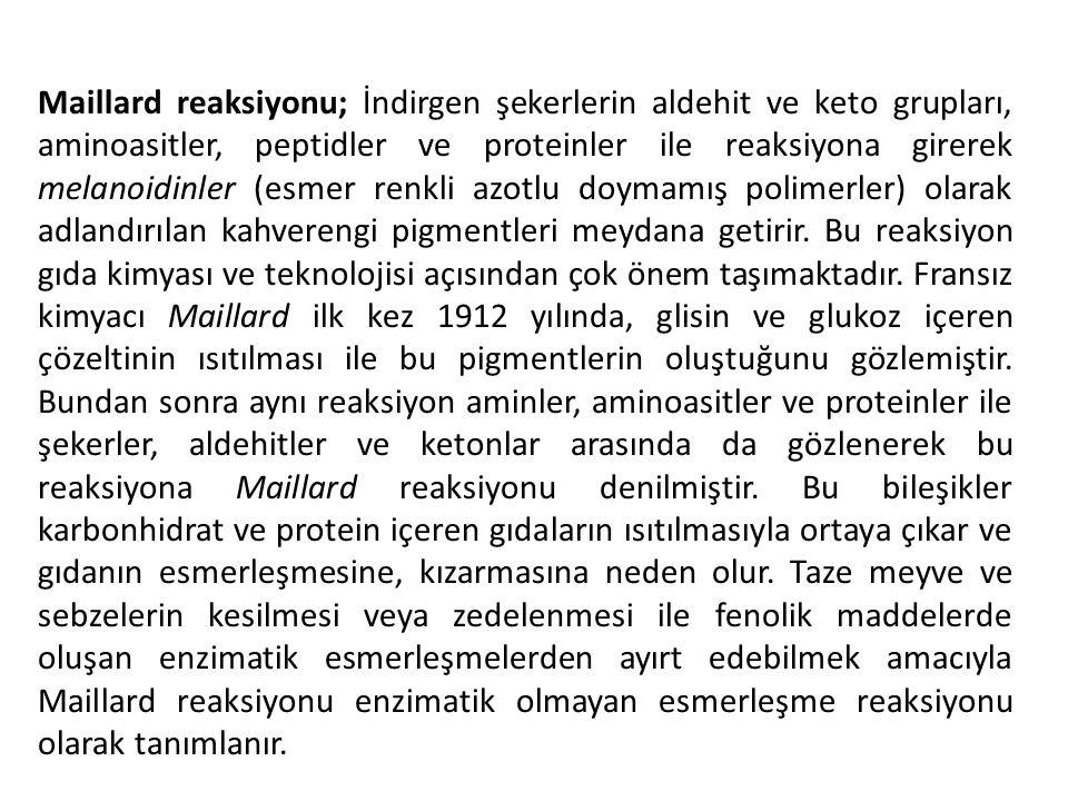 Maillard reaksiyonu; İndirgen şekerlerin aldehit ve keto grupları, aminoasitler, peptidler ve proteinler ile reaksiyona girerek melanoidinler (esmer renkli azotlu doymamış polimerler) olarak adlandırılan kahverengi pigmentleri meydana getirir.