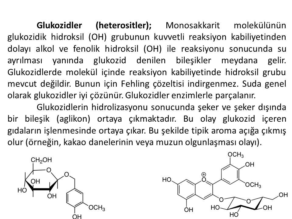 Glukozidler (heterositler); Monosakkarit molekülünün glukozidik hidroksil (OH) grubunun kuvvetli reaksiyon kabiliyetinden dolayı alkol ve fenolik hidroksil (OH) ile reaksiyonu sonucunda su ayrılması yanında glukozid denilen bileşikler meydana gelir. Glukozidlerde molekül içinde reaksiyon kabiliyetinde hidroksil grubu mevcut değildir. Bunun için Fehling çözeltisi indirgenmez. Suda genel olarak glukozidler iyi çözünür. Glukozidler enzimlerle parçalanır.