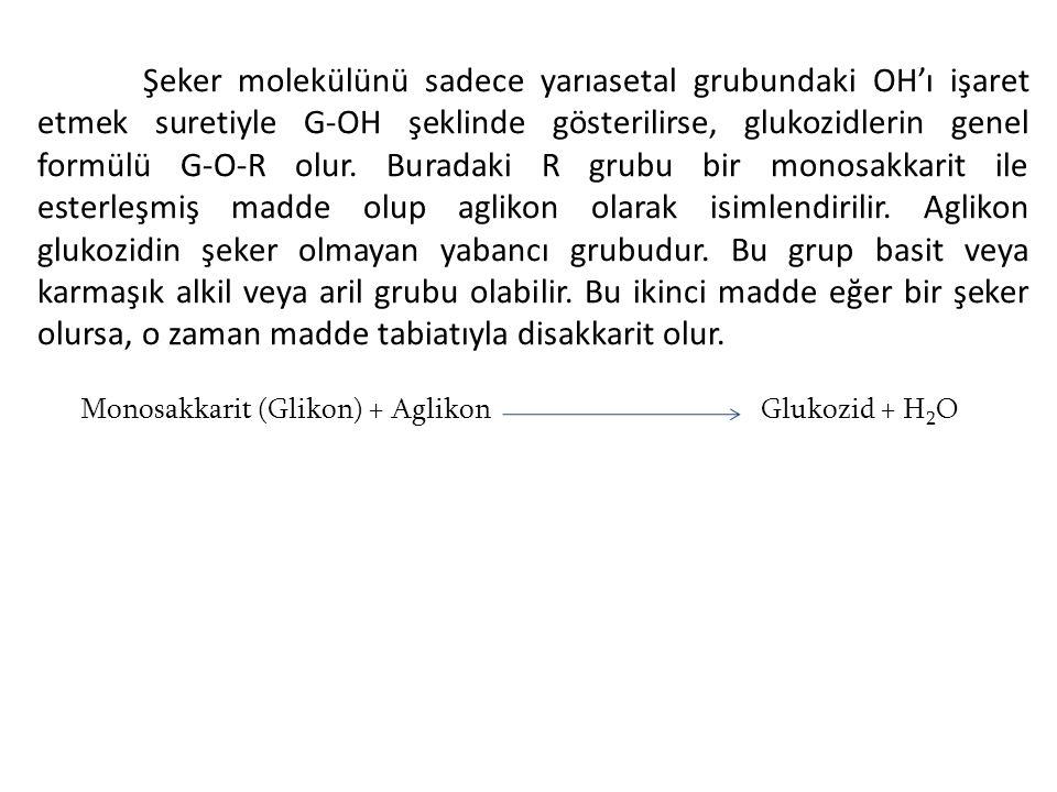 Monosakkarit (Glikon) + Aglikon Glukozid + H2O
