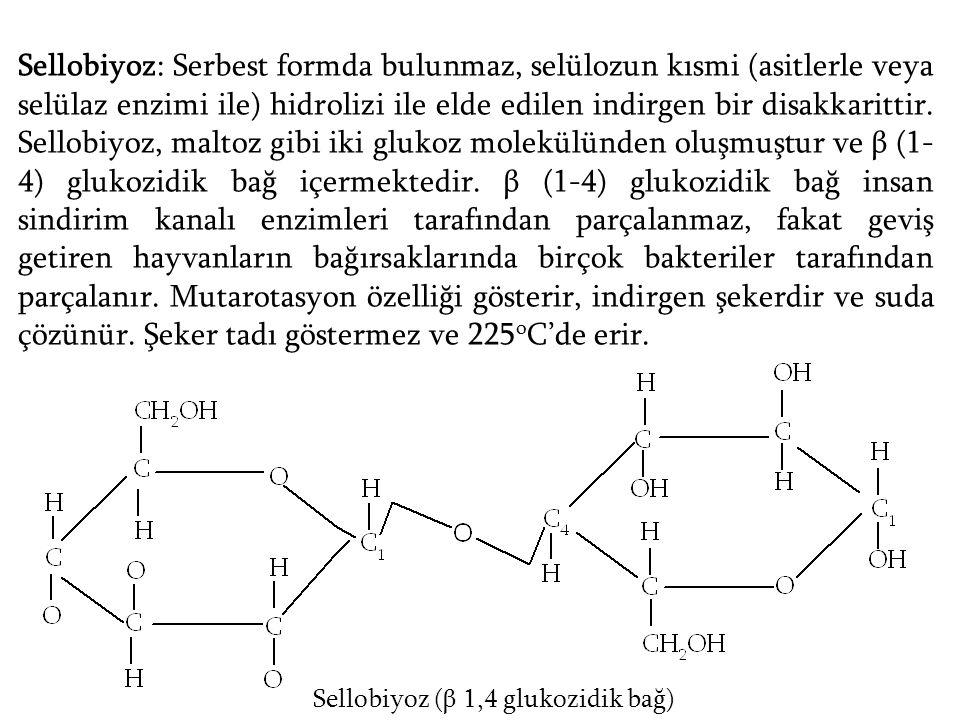 Sellobiyoz: Serbest formda bulunmaz, selülozun kısmi (asitlerle veya selülaz enzimi ile) hidrolizi ile elde edilen indirgen bir disakkarittir. Sellobiyoz, maltoz gibi iki glukoz molekülünden oluşmuştur ve β (1-4) glukozidik bağ içermektedir. β (1-4) glukozidik bağ insan sindirim kanalı enzimleri tarafından parçalanmaz, fakat geviş getiren hayvanların bağırsaklarında birçok bakteriler tarafından parçalanır. Mutarotasyon özelliği gösterir, indirgen şekerdir ve suda çözünür. Şeker tadı göstermez ve 225oC'de erir.