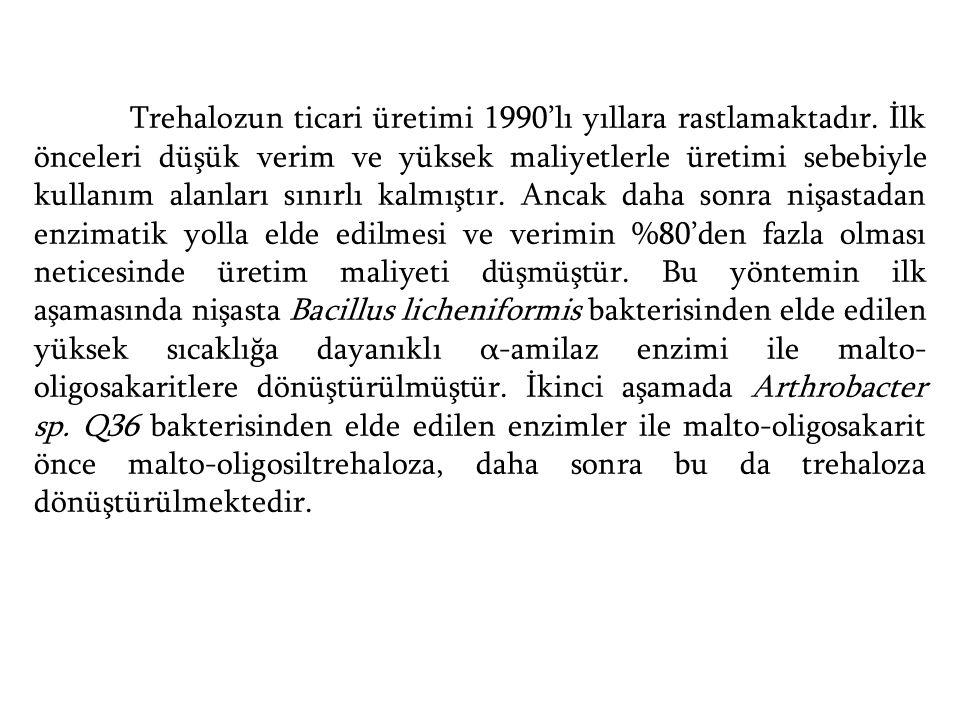Trehalozun ticari üretimi 1990'lı yıllara rastlamaktadır