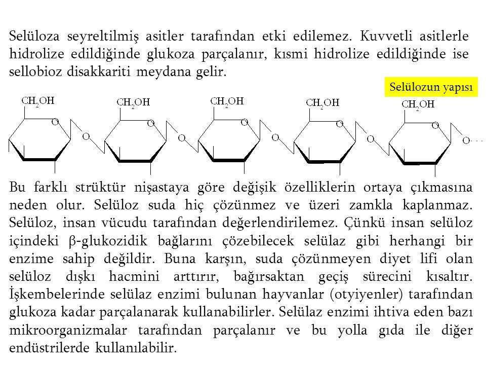 Selüloza seyreltilmiş asitler tarafından etki edilemez