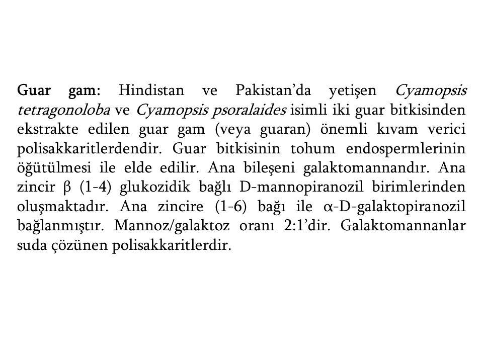 Guar gam: Hindistan ve Pakistan'da yetişen Cyamopsis tetragonoloba ve Cyamopsis psoralaides isimli iki guar bitkisinden ekstrakte edilen guar gam (veya guaran) önemli kıvam verici polisakkaritlerdendir.