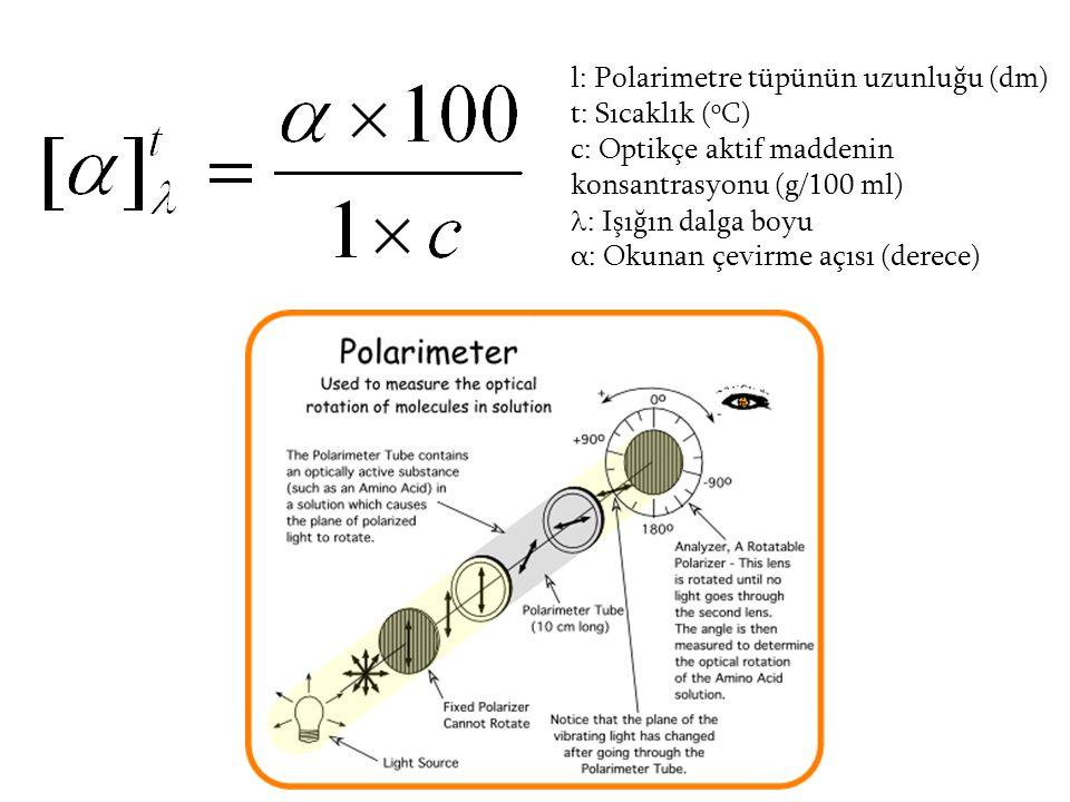 l: Polarimetre tüpünün uzunluğu (dm)