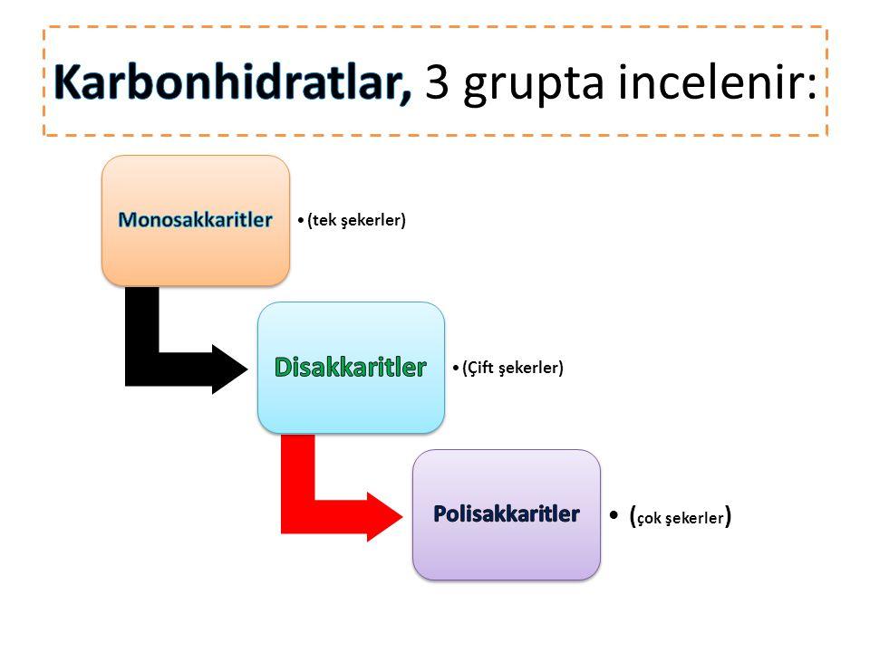Karbonhidratlar, 3 grupta incelenir: