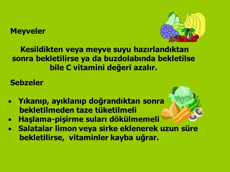 Meyveler Kesildikten veya meyve suyu hazırlandıktan sonra bekletilirse ya da buzdolabında bekletilse bile C vitamini değeri azalır.