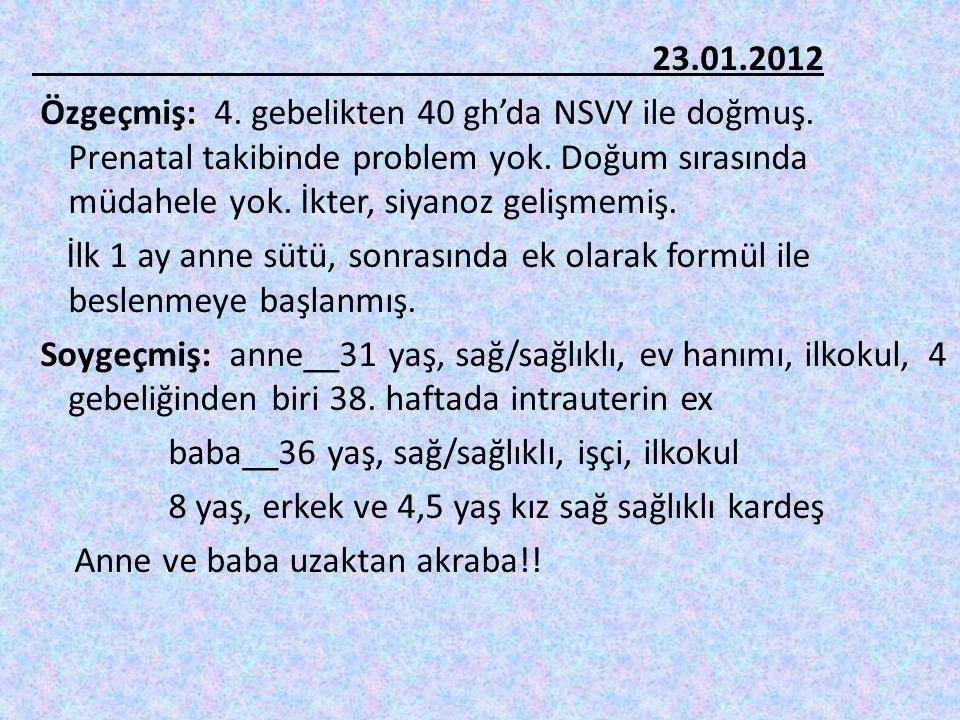 23. 01. 2012 Özgeçmiş: 4. gebelikten 40 gh'da NSVY ile doğmuş