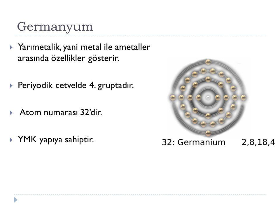 Germanyum Yarımetalik, yani metal ile ametaller arasında özellikler gösterir. Periyodik cetvelde 4. gruptadır.