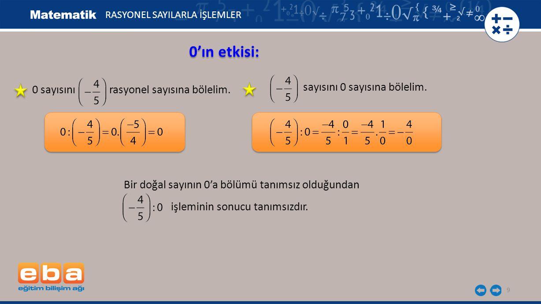 0'ın etkisi: sayısını 0 sayısına bölelim.