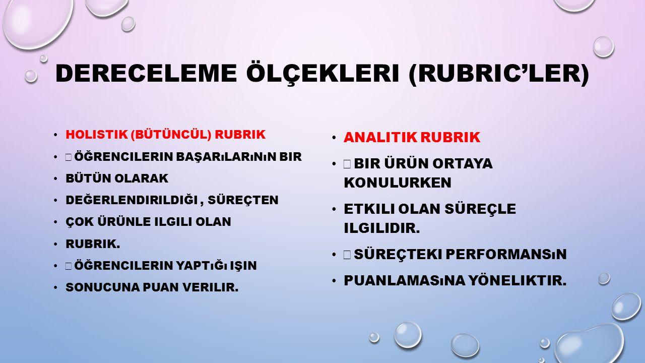 Dereceleme Ölçekleri (Rubric'ler)