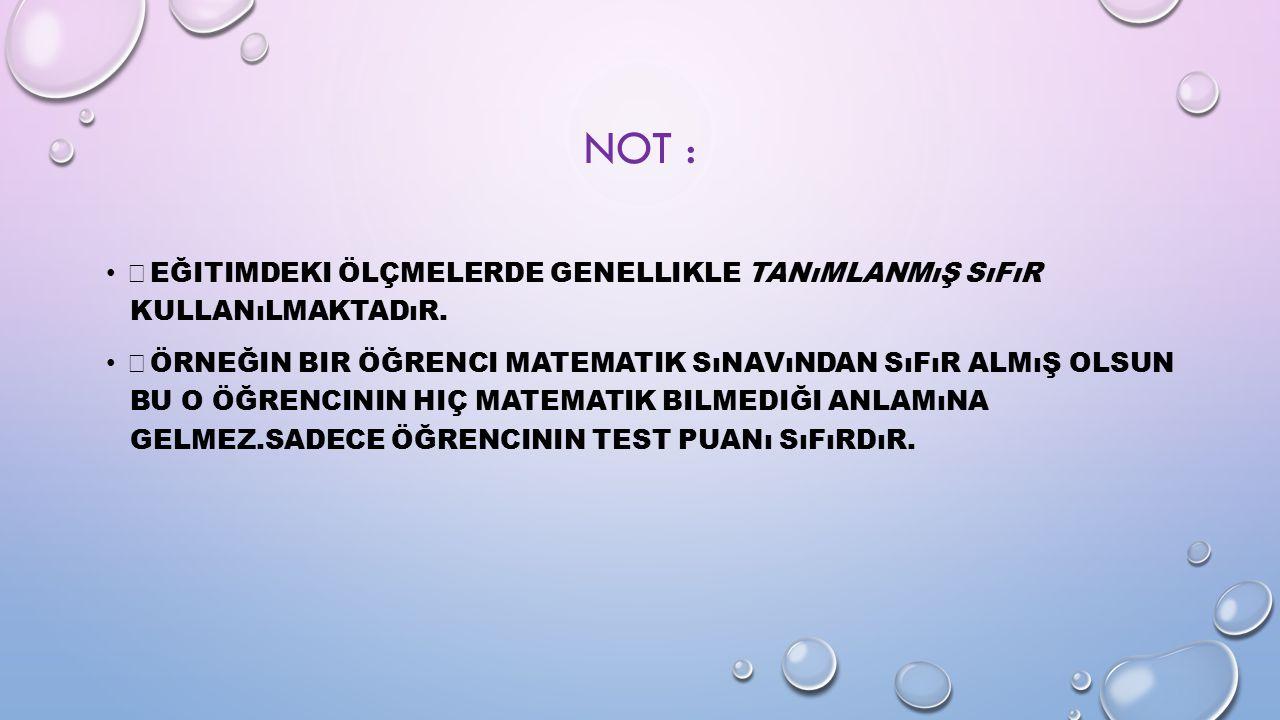 Not : Eğitimdeki ölçmelerde genellikle tanımlanmış sıfır kullanılmaktadır.