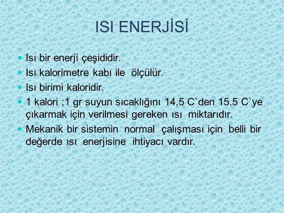 ISI ENERJİSİ Isı bir enerji çeşididir.