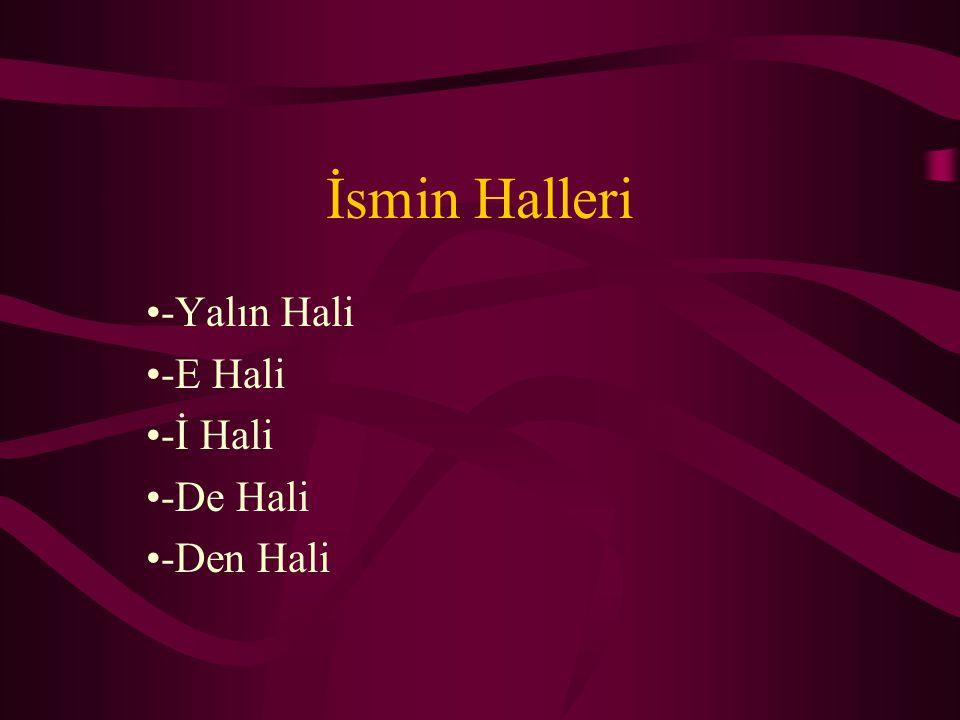 -Yalın Hali -E Hali -İ Hali -De Hali -Den Hali