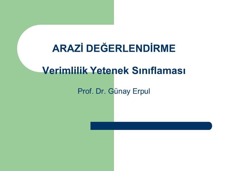 ARAZİ DEĞERLENDİRME Verimlilik Yetenek Sınıflaması Prof. Dr