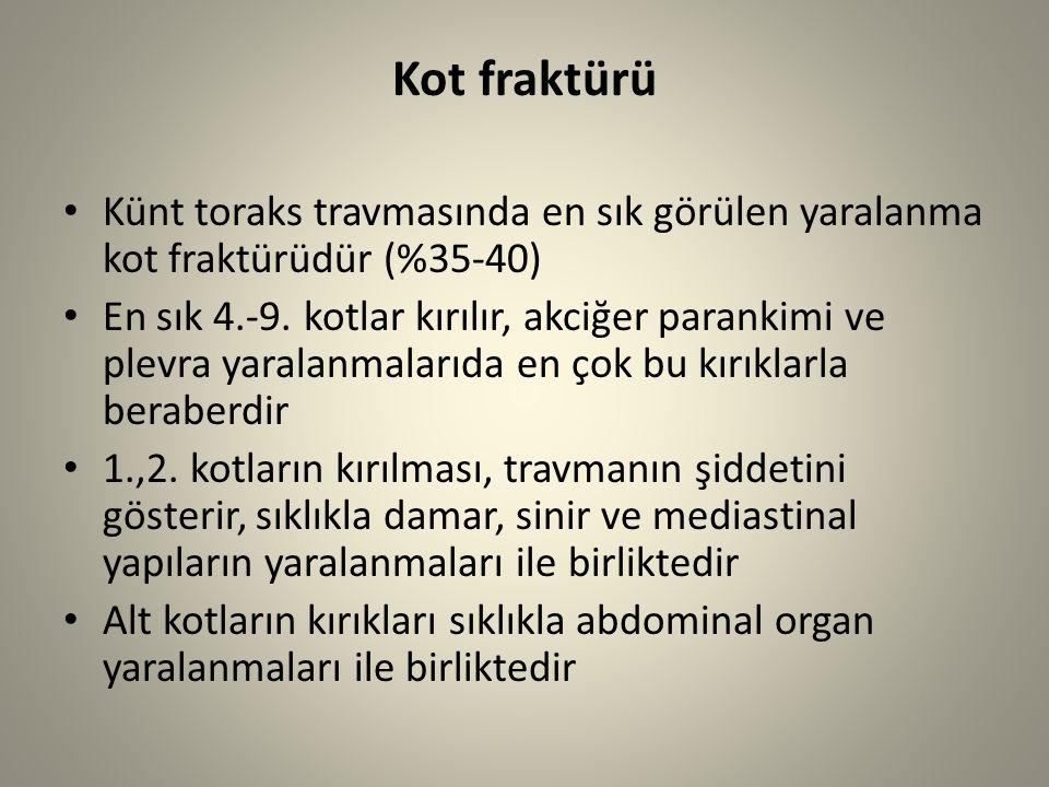 Kot fraktürü Künt toraks travmasında en sık görülen yaralanma kot fraktürüdür (%35-40)