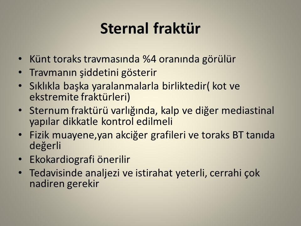 Sternal fraktür Künt toraks travmasında %4 oranında görülür