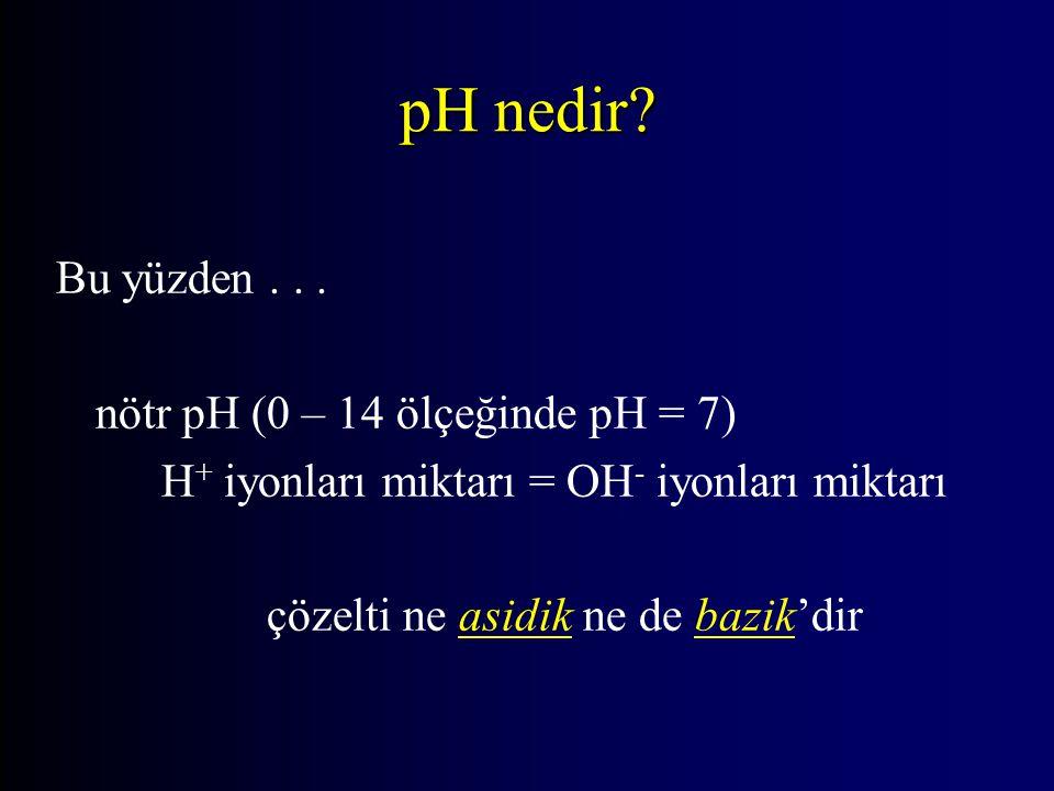 pH nedir Bu yüzden . . . nötr pH (0 – 14 ölçeğinde pH = 7)