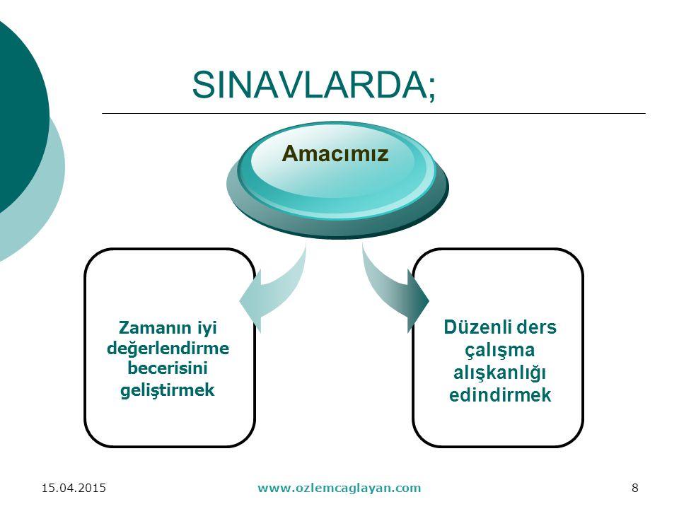 SINAVLARDA; Amacımız Düzenli ders çalışma alışkanlığı edindirmek