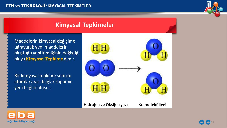 Kimyasal Tepkimeler FEN ve TEKNOLOJİ / KİMYASAL TEPKİMELER