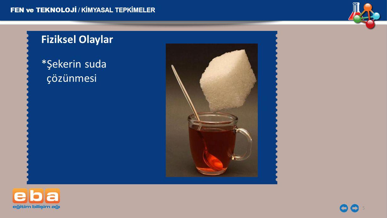 Fiziksel Olaylar *Şekerin suda çözünmesi