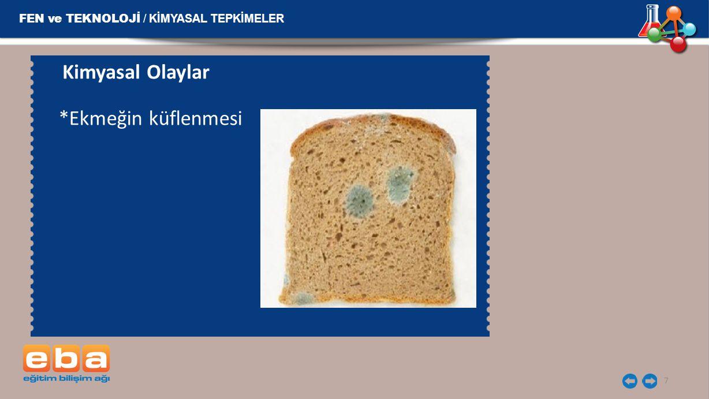 Kimyasal Olaylar *Ekmeğin küflenmesi