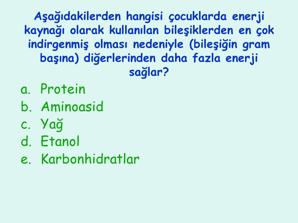 Protein Aminoasid Yağ Etanol Karbonhidratlar