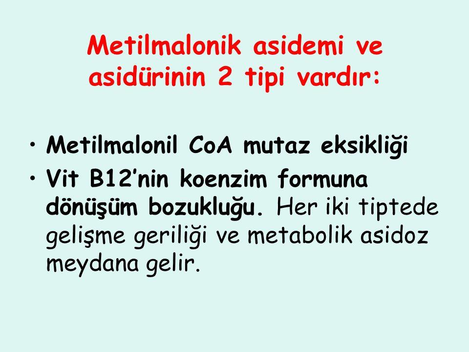 Metilmalonik asidemi ve asidürinin 2 tipi vardır: